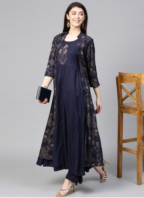 Viscose Navy Blue Embroidered Party Wear Kurti