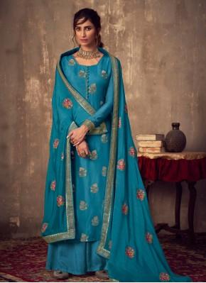 Viscose Salwar Kameez in Blue
