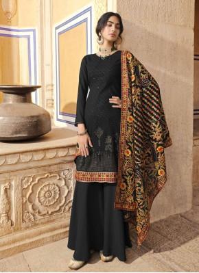 Vivacious Black Embroidered Faux Georgette Designer Pakistani Suit