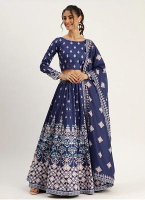 Vivacious Blue Silk Designer Lehenga Choli