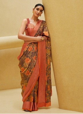 Vivacious Digital Print Satin Blend Printed Saree
