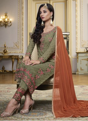 Vivacious Embroidered Green Faux Georgette Designer Pakistani Suit
