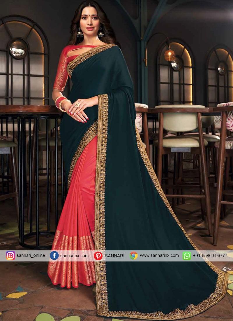 Vivacious Embroidered Pink and Teal Tamannaah Bhatia Designer Half N Half Saree