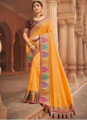 Vivacious Embroidered Yellow Traditional Designer Saree