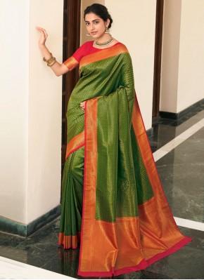 Vivacious Green Reception Traditional Saree