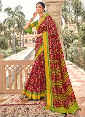 Vivacious Print Multi Colour Brasso Designer Traditional Saree