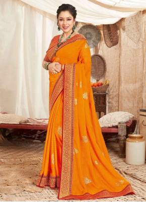 Vivacious Rupali Ganguly Orange Fancy Fabric Designer Saree