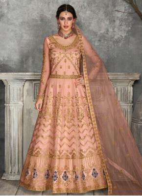 Vivid Embroidered Peach Floor Length Anarkali Suit