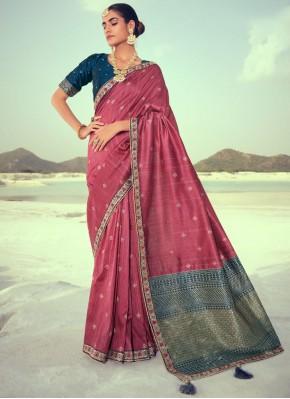 Vivid Embroidered Silk Mauve  Traditional Saree