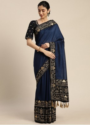 Vivid Navy Blue Classic Designer Saree