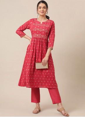 Vivid Red Silk Party Wear Kurti