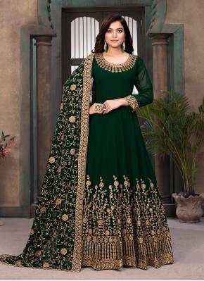 Vivid Resham Faux Georgette Green Floor Length Anarkali Suit