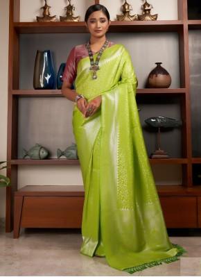 Vivid Weaving Raw Silk Green Designer Traditional Saree
