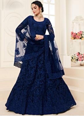 Voguish Blue Embroidered A Line Lehenga Choli