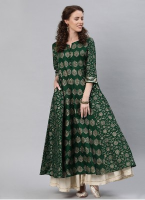 Voguish Green Fancy Cotton Party Wear Kurti