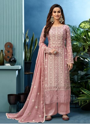 Voluptuous Embroidered Pink Muslin Designer Palazzo Suit
