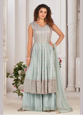 Voluptuous Georgette Mirror Work Designer Ready made Palazzo Dress