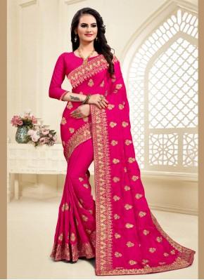 Voluptuous Satin Silk Zari Pink Designer Saree