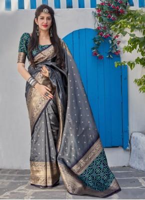 Voluptuous Silk Weaving Grey Classic Saree