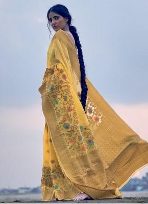 Voluptuous Weaving Yellow Linen Trendy Saree