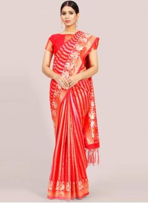 Weaving Art Silk Traditional Designer Saree in Red