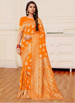 Weaving Banarasi Silk Half N Half Designer Saree in Mustard and Orange