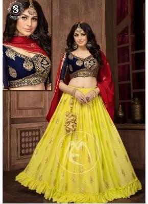 Weaving Print Georgette Readymade Chaniya Choli in