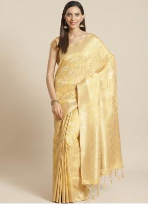 Weaving Silk Designer Saree in Gold