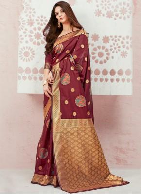 Weaving Silk Designer Saree in Maroon