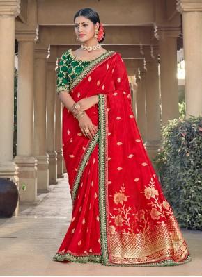 Weaving Silk Designer Traditional Saree in Red