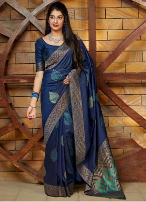 Weaving Silk Silk Saree in Blue