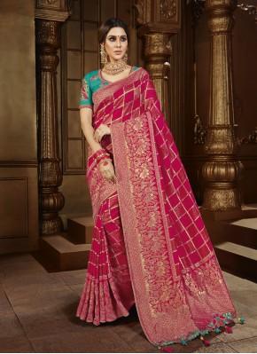 Weaving Silk Trendy Saree in Maroon