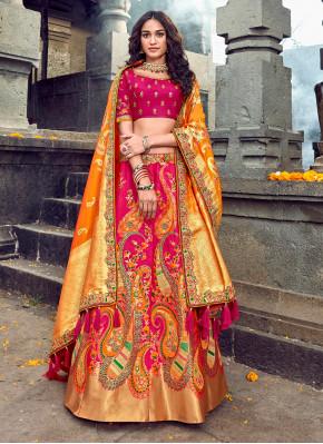 Wedding Bridal Wear Pink Color Designer Lehenga Choli
