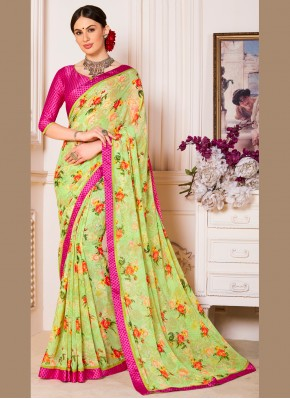 Weight Less Abstract Print Casual Saree in Multi Colour