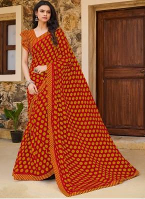 Weight Less Print Orange Traditional Saree