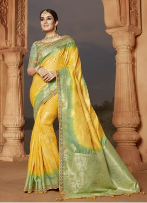 Whimsical Embroidered Yellow Designer Traditional Saree
