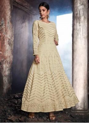 Whimsical Georgette Cream Resham Anarkali Suit