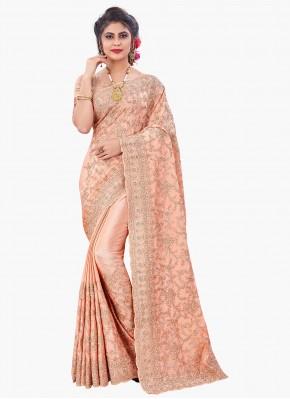 Whimsical Peach Resham Faux Chiffon Designer Saree