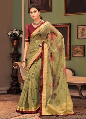Whimsical Silk Printed Traditional Designer Saree