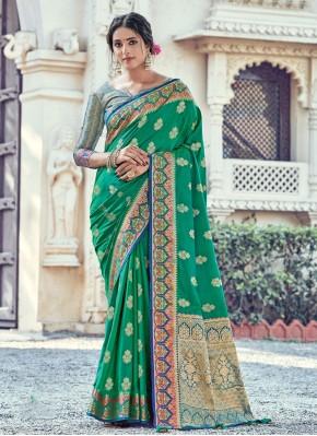 Whimsical Woven Green Silk Traditional Designer Saree