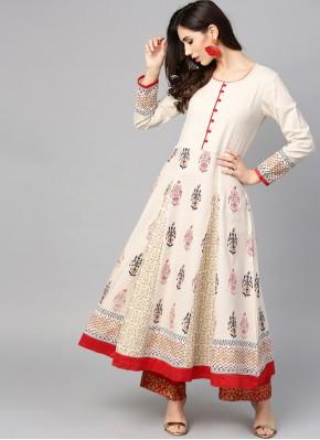White Cotton Designer Kurti