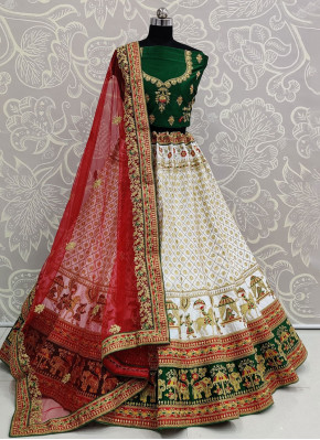 White Embroidered Reception Trendy Lehenga Choli