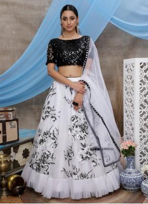 White Organza Trendy Designer Lehenga Choli