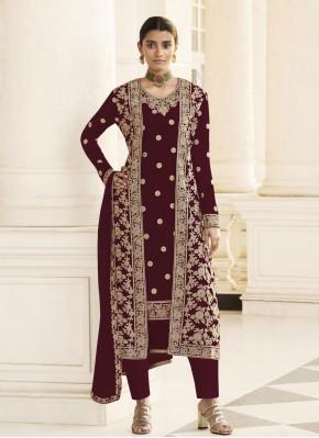 Wine Ceremonial Designer Pakistani Suit