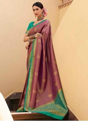 Wine Ceremonial Silk Designer Saree