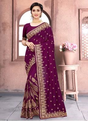 Wine Color Classic Designer Saree