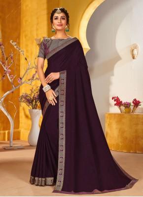 Wine Color Traditional Saree