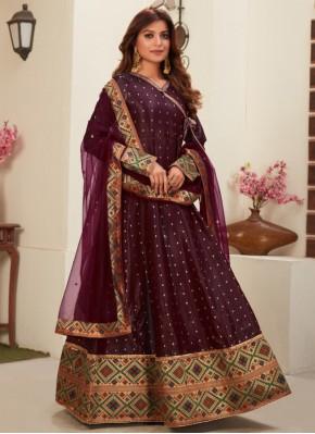 Wine Embroidered Ceremonial Floor Length Anarkali Suit