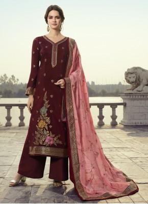 Wine Embroidered Designer Pakistani Suit