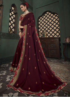 Wine Embroidered Fancy Fabric Classic Saree